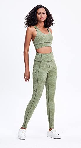 ArcherWlh Leggings Sexy,Nuevos Damas Europeas y Americanas Color sólido Cintura Altas Medias de Yoga Secado rápido Elástico Ejecutar Deportes Fitness Pantalones-Lavado de Hielo Verde_SG