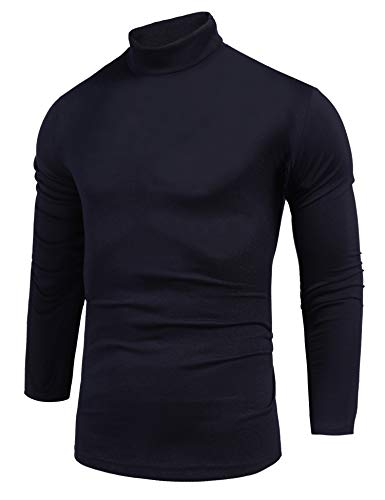 Pacinoble Men's Casual Turtleneck Sweater Slim Fit Basic Tops Long Sleeve Knitted Thermal Pullover Sweater (Navy Blue M)