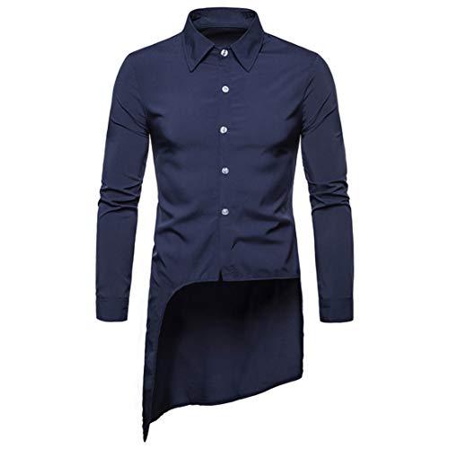 MENHG Men's Long Shirts Irregular Hem Sweatshirt Jacket Blouse Tunic Tops Outwear Men Pure Color Button Down Lapel Classic Retro Slim Fit Cardigan Pullover Coats Boho Jumper Dress Shirt Dinner Suit