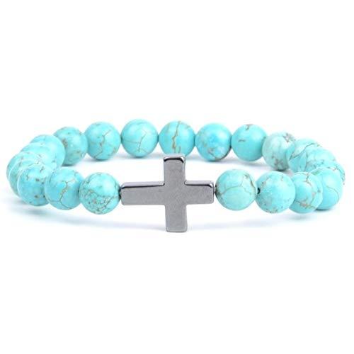 No Religioso Cristiano Piedra Natural África Turquoises Beads Pulsera Cruz Charm Bangle Jewelry 19Cm Azul Turquesa