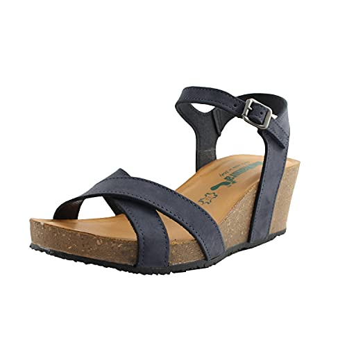 BioNatura sandali zeppa comodi donna in gomma sughero e pelle nabuk blu navy cod.37A870BLUNAVY n.35