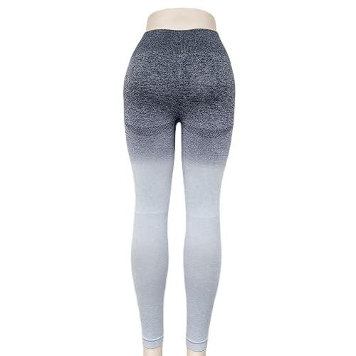 QTJY Señoras Deportes Fitness Pantalones de Yoga Leggings de compresión gradiente Pantalones sin Costuras Estiramiento de Cintura Alta Pantalones de Fitness para Correr DL