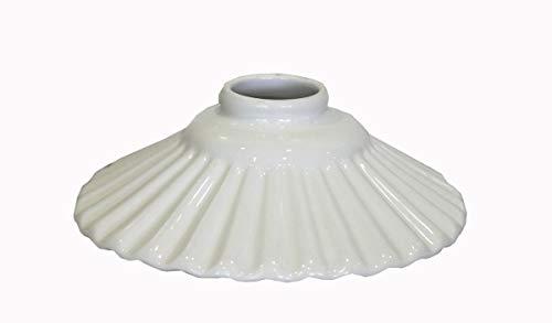 Vervangende lampenkap van wit keramiek met witte rand voor kroonluchters klassieke landhuisstijl - 20 cm 100% Made in Italy