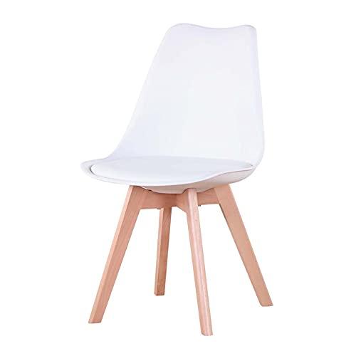 EGOONM Ensemble de 1 chaises de Salle à Manger, chaises de Style Nordique, pouvant être placées dans la Salle à Manger, Le Salon et Le Bureau (Blanc-1 Chaise)
