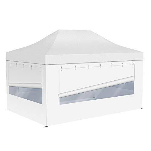 Vispronet Profi Faltpavillon Basic - 3x4,5 m in Weiß - 4 Vollwände mit Panoramafenster - Scherengittersystem - Farbe & Größe wählbar