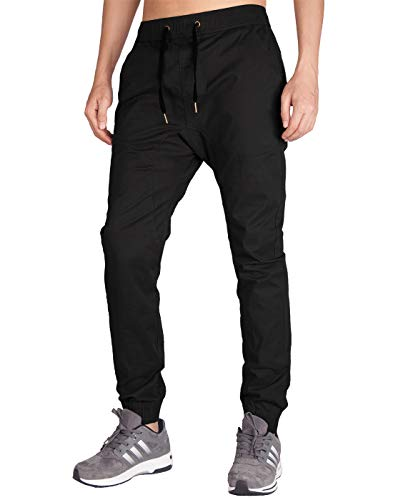 Italy Morn Herren Chino Jogging Hose Casual Stoff Hose Chinohose Sporthose Slim Fit M Schwarz