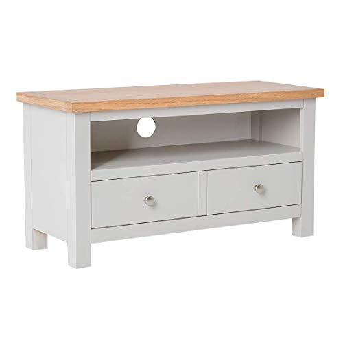 RoselandFurniture Farrow Grey Small TV Stand with Storage & Oak   90 cm Painted Solid Wooden Television Cabinet Unit up to 40 inch TVs for Living Room or Bedroom   Fully Assembled