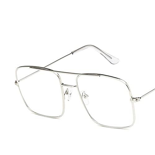 Astemdhj Gafas de Sol Sunglasses Gafas De Sol Cuadradas De Aleación Vintage para Mujer, Gafas De Sol Pequeñas Retro De Moda para Mujer, Gafas Uv400, Accesorios De Compra, Plata-TAnti-UV