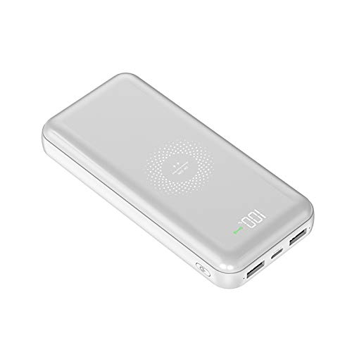 HongHe Wireless Power Bank, 10000mAh Portable Charger with 2 Input & 2 output, External Battery Pack Compatible with iPhone Samsung iPad AirPods and More, White