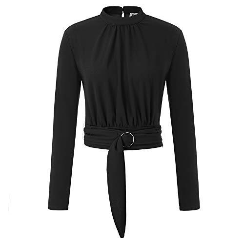 GRACE KARIN Damen Tops Langarm Cropped Oberteile Mock Neck Elastisch Herbst Freizeit Bluse mit Gürtel M Schwarz CLE02053-1