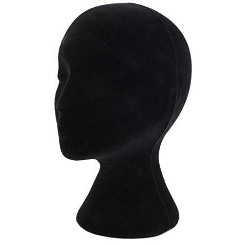 CHRONSTYLE Weibliche Kopf Modell,Styropor Mannequin Prüfpuppe Kopf Schaum Perücke Haar Brille Modelldarstellung,Dummy-Perücke Brille Hut Display-Ständer (schwarz, Einheitsgröße)