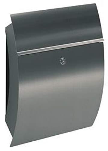 Albert 690770 Briefkasten, 36 x 14,5 x 50 cm, Edelstahl, silber
