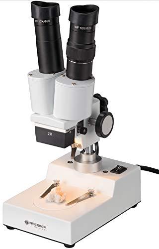 Bresser 3D Auflicht Stereo Mikroskop Biorit ICD 20x Vergrößerung zum Beobachtung von 'Gesteinen, Pflanzen, Münzen, Insekten und vielem mehr inklusive Beleuchtung und Staubschutzhülle