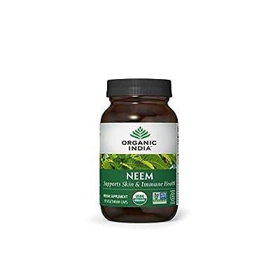 Organic India Neem Herbal Supplement - Supports Skin & Immune Health, Detox, Healthy Inflammatory Response, Vegan, Gluten-Free, USDA Certified Organic, Supports Liver Health - 90 Capsules