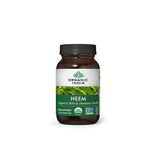 Organic India Neem Herbal Supplement - Supports Skin & Immune Health, Detox, Healthy Inflammatory Response, Vegan, Gluten-Free, USDA Certified Organic, Supports Liver Health - 90 Capsules