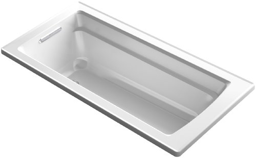 KOHLER K-1948-0 Archer ExoCrylic 66-Inch x 32-Inch Drop-In Bath with Reversible Drain, White