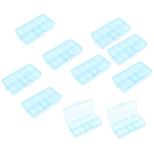 Sharplace 10 x Grid Boîte à Bijoux Organisateur de Breloque 10 Grid 13x6,7x2,1cm - Bleu