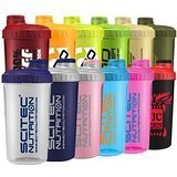Scitec Nutrition - Shaker 12 Farben MIX Box ,700ml mit Sieb (5 Shaker)