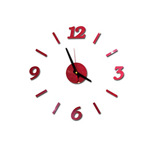 Frecoccialo Reloj de Pared DIY Grande 3D Acrílico Pegatina Decoración del Hogar Reloj Pared Letra Inglés sin Marco Ideal para Casa Restaurante Cafetería Hotel (Rojo, Numeros)