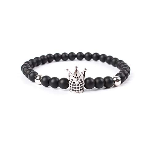 Armreif mit Kette, Hot Sale Trendy Imperial Crown Charm Bracelets Men Natural Stone Stone Beads For Women Men Jewelry Pulsera Hombres Silver