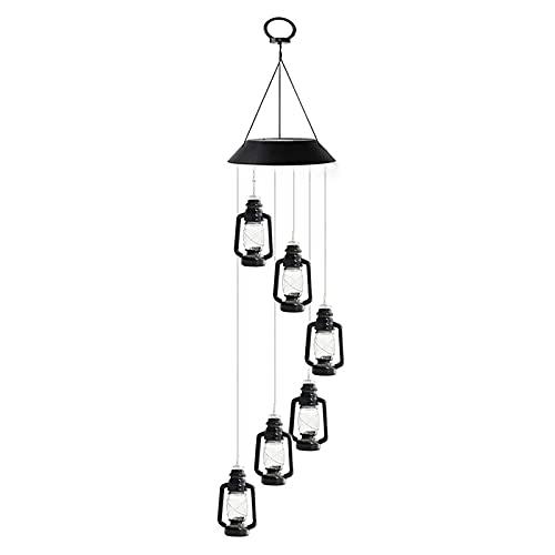 Lampada solare a forma di vento, 7 cangianti a vento solare che cambiano colore, lampada a LED da appendere a cherosene per patio, giardino, cortile, decorazione esterna