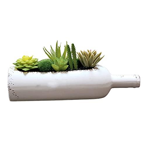 HGhgFGH Planta Verde Botella de Vino en Maceta Botella de Cola Adornos Decorativos suculenta combinación Maceta Planta de simulación
