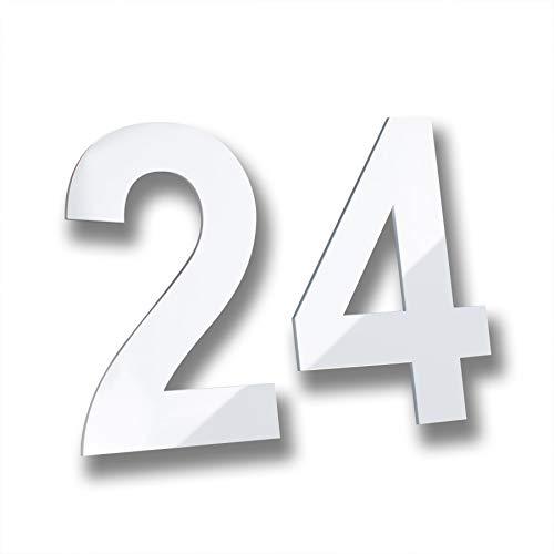 Metzler Hausnummer Spezial-Acrylglas weiß Arial geschliffen modern - unkomplizierte Montage (150 mm, 2)