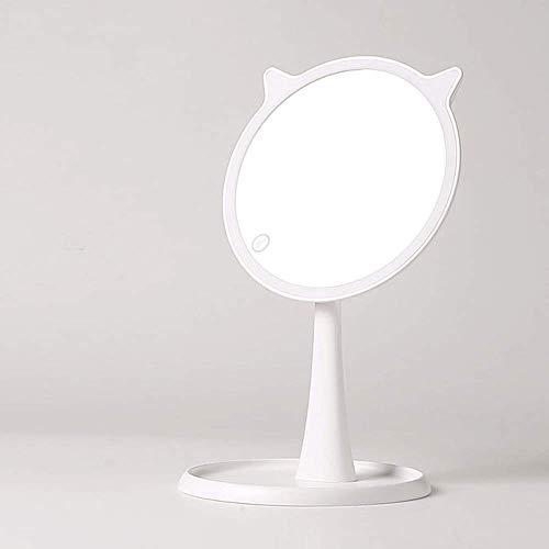 CAIMEI Espejo de Maquillaje con Lámpara Escritorio de Escritorio Led Chica Corazón Dibujos Animados Zoom Luz de Relleno Carga Estudiante Princesa Espejo de Tocador Blanco