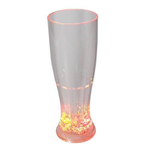 LED-Highlights Glas Becher Weizenglas 650 ml LED Rgb bunt oder blinkend Batterie wechselbar Bar Kunststoff Trinkglas beleuchtet
