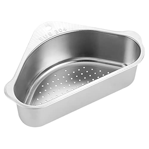 PYLTT Kitchen Corner Colanders Sink Filter Rack Food Strainers Washing Fruits and Vegetables Kitchen Suction Cup Hanging Triangle Sink Drain Basket Durable and Multifunctional