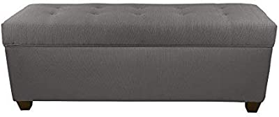 """The Sole Secret Button Tufted Ottoman with Shoe Storage, Bedroom Bench with Shoe Storage Slots, 20""""H x 50""""L x 17""""D, Grey with Red Tint Upholstery"""