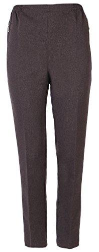 FASHION YOU WANT FASHION YOU WANT Damen Seniorenhose Schlupfhose mit Gummizug Kurzgröße ideal für pflegebedürftige Omas einfach anzuziehen und super pflegeleicht (44/46, braun)