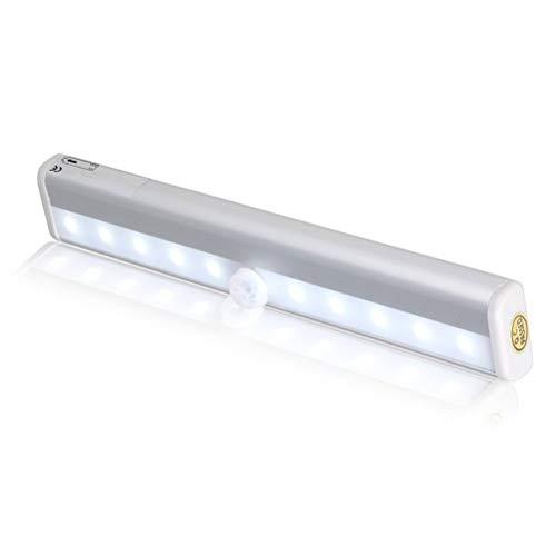 Nachtlampje bewegingsmelder, draagbaar klein licht draadloze LED onder kastverlichting 10-LED-bewegingssensor geactiveerd nachtlampje ingebouwde accuverlichting voor kast, kast