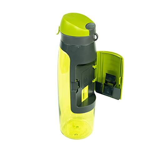 Profecus Trinkflasche mit Fach | inklusive Sportbeutel | Praktische Wasserflasche 750 ml | Sportflasche für Gym, Outdoor BPA frei | Auslaufsicher