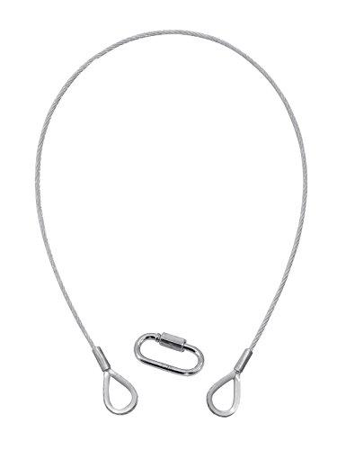 Eurolite Sicherheits-Fangseil 0,6 m (Sicherungsseil, 60 cm, mit zwei Kauschen, Rundlitzenseil, Schnellverbindungsglied) silber