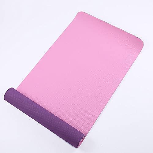 FGJFG Alfombra de gimnasio ecológica antideslizante clásica Pro Fitness Mat bicolor rosa A_183 x 61 x 0,6 cm, ideal para hiit, yoga y muchos otros entrenamientos en casa