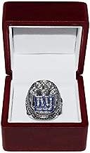 NEW YORK GIANTS (Eli Manning) 2011 SUPER BOWL XLVI WORLD CHAMPIONS (Vs. Patriots) Est. 1925 Rare Collectible High-Quality Replica NFL Football Silver Championship Ring with Cherrywood Display Box