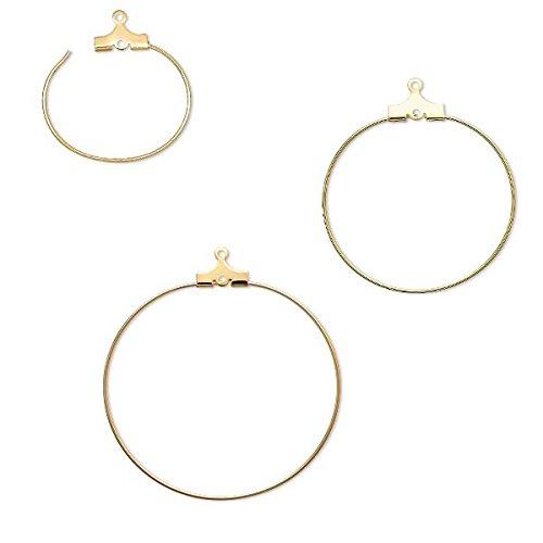 50pcs Gold Tone Brass Kidney Earwire Hoop Earring Findings Lead Free Craft 43mm