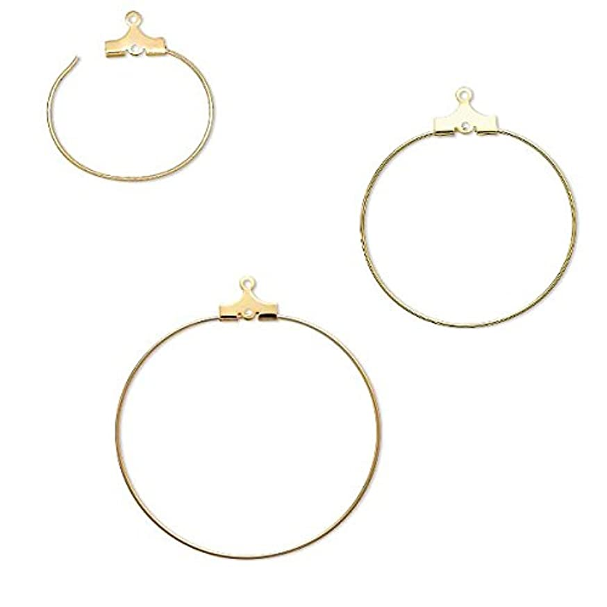 10 Gold Beading Hoop Earring Finding Components With 2 Loops Plated Brass Metal (30mm)