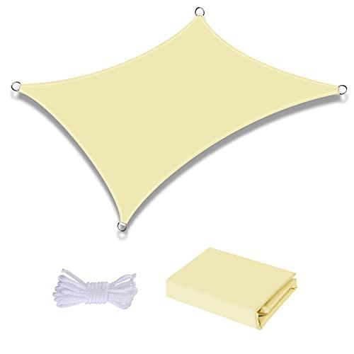 Awroutdoor 3x4m Toldo Vela de Sombra Rectangular, Protección UV Impermeable para Patio, Exteriores, Jardín, Color Crema