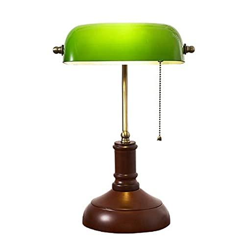 Lámpara De Banquero Clásica Lámpara De Mesa Retro con Interruptor De Cadena De Tirón Y Base De Madera Decorada Sombra De Cristal Verde Ajustable para La Sala De Estar De La Sala De Estar De Lectura
