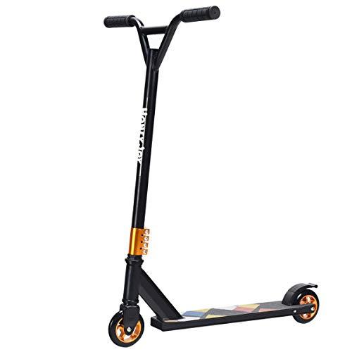COSTWAY Stunt Scooter mit PU-Rädern, Trick Roller bis 100KG belastbar, Stuntscooter, Freestylescooter, Tretroller, Kickscooter ideal für Kinder und Erwachsene (Schwarz)