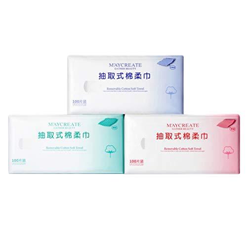Mobestech 100 Hojas Desechables Toallitas Faciales Mojado Seco Maquillaje Facial Toalla Tipo de Extracción Lavado de Cara Paños de Limpieza para Mujeres Damas (Estilo de Grano Neto)