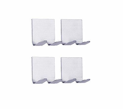 NELPLA Brushed Stainless Steel 4 PCS Self Adhesive Shaving Wall hooks, Razor Hooks, Towel hooks, Coat hooks,Fit for Bedroom,Living room, Bath room and Fitting room Hanger Wall Mount