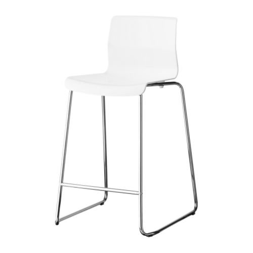 Ikea GLENN - Barhocker, weiß, verchromt
