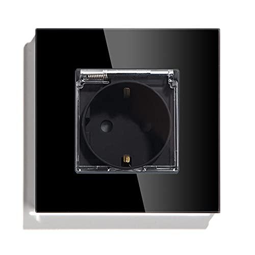 BSEED Enchufe de pared, Panel de cristal Schuko Enchufe con cubierta Negro Impermeable toma Simple 16A a 250V enchufes de extensión adecuado para Baño,cocina