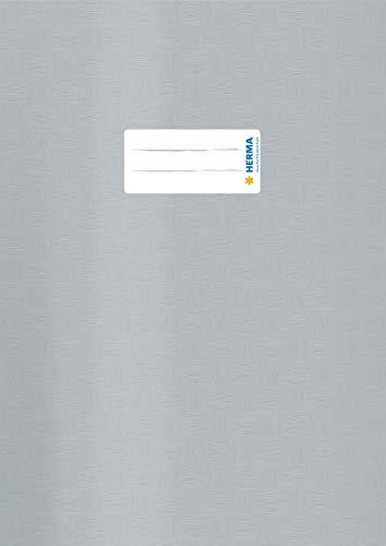 HERMA 7448 Heftumschlag DIN A4 Bast, Hefthüllen mit Beschriftungsetikett und Baststruktur, aus strapazierfähiger und abwischbarer Polypropylen-Folie, Heftschoner für Schulhefte, grau