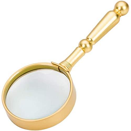 JJDSN Lupa de Mano, Lupa de Vidrio óptico 6X con Mango de Metal para Leer, Pasatiempos, Monedas, Libros, Sellos, inspección, reparación