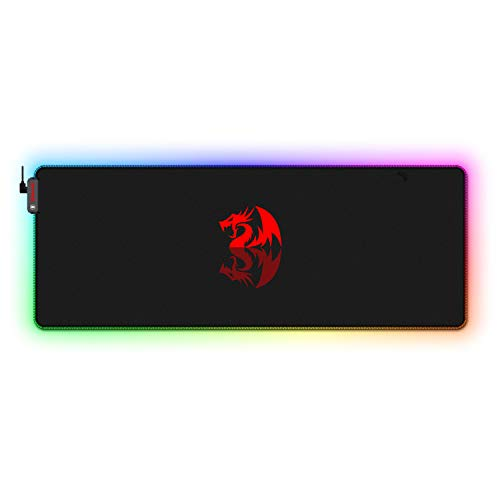Redragon P027 RGB Wired Mouse Pad, Soft Cloth, Non-Slip Rubber Base, Stiched...