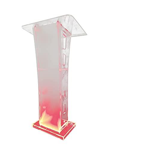 AeasyG Podio de acrílico Transparente, Atril portátil de acrílico portátil de pie, Escritorio de metacrilato, podio de acrílico LED con Control Remoto, Superficie de Lectura Amplia y Luces de